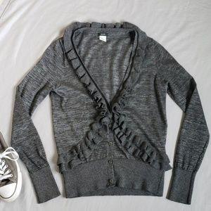 J Crew Ruffle Front Cardigan Sweater